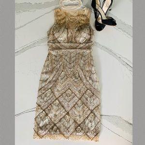 Sue Wong Nocturne Gold Sequin Dress Size 2